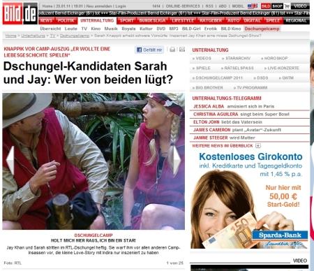 Gefundenes Fressen für hoch seriöse Seiten wie die BILD - Warum auch über Anschläge in Russland berichten, wenn Sarah Stress mit Jay hat? :-) | © Bild.de